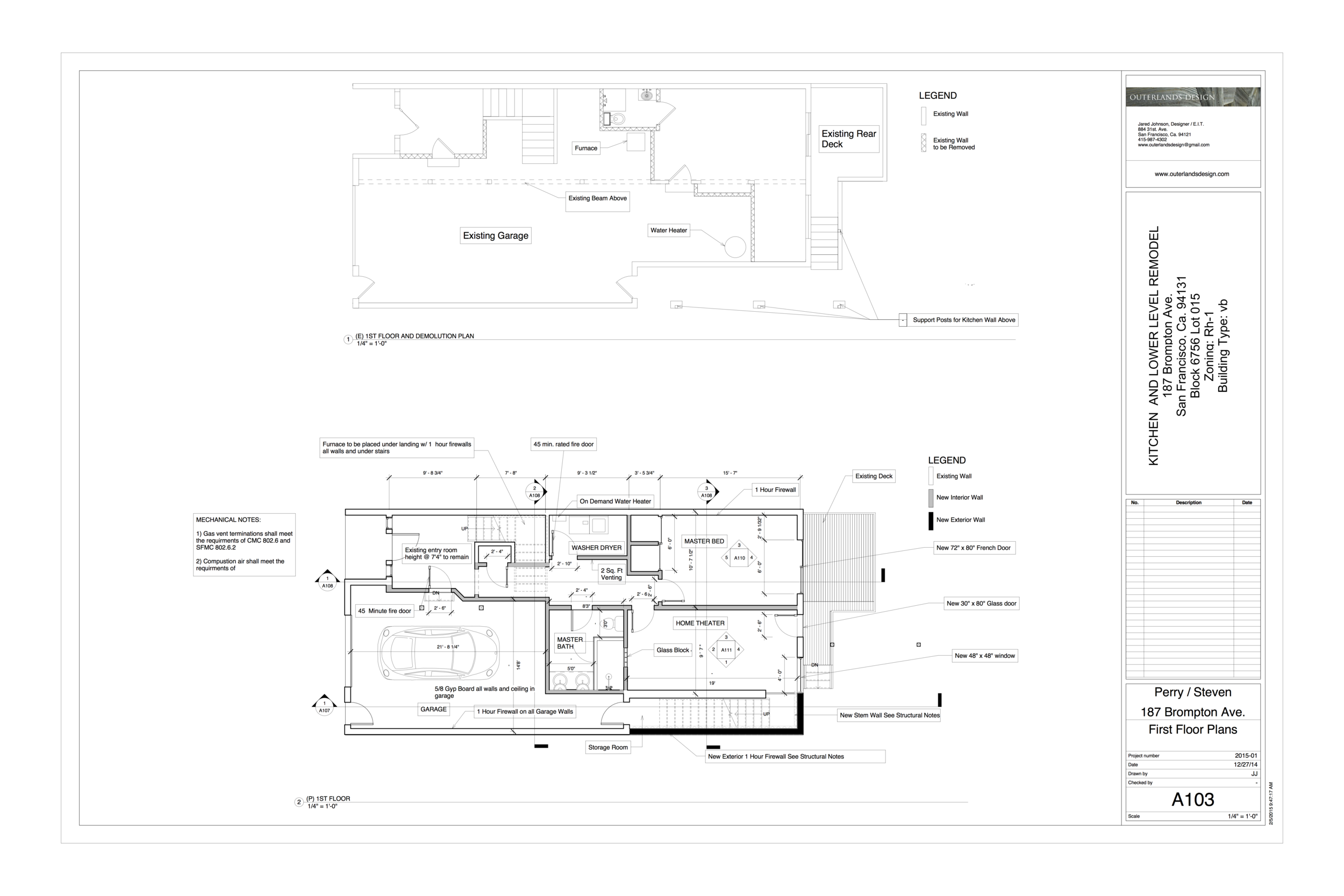 A first floor plan page from a construction set
