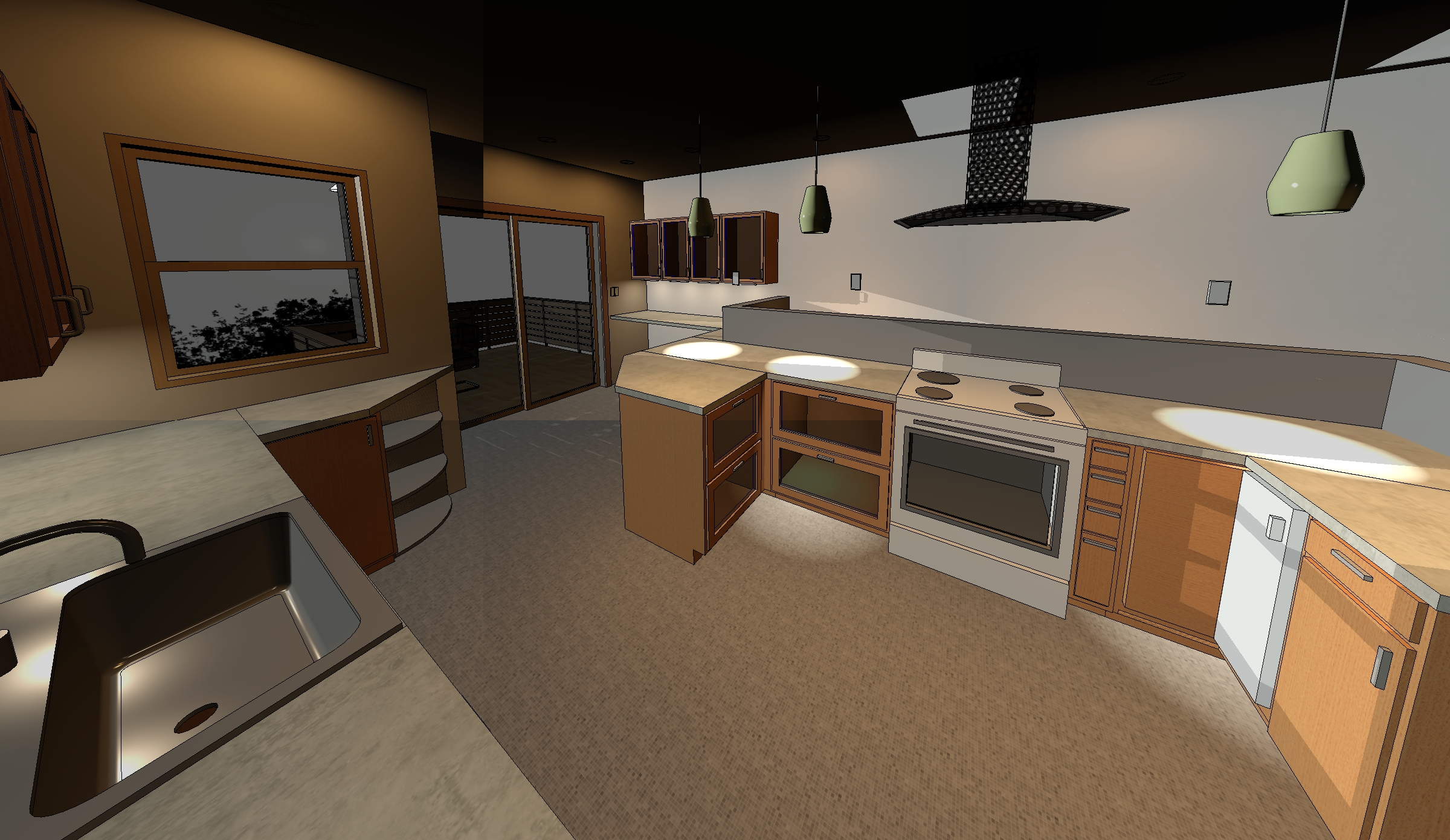 Brompton Ave. initial design stage,Revit kitchen model