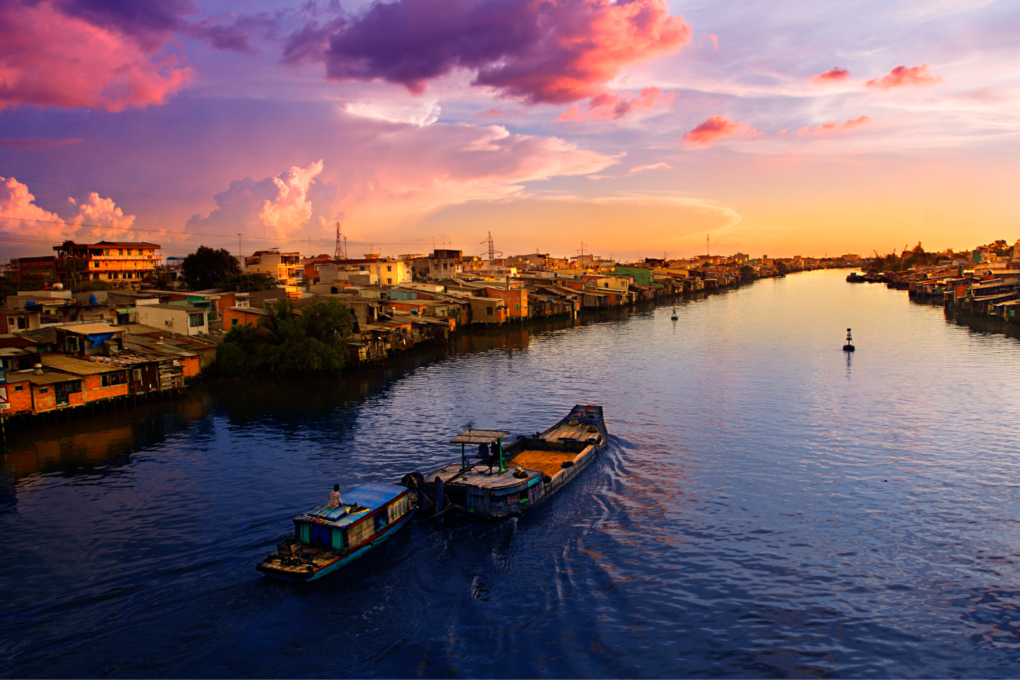 Sunset over the Mekong river...