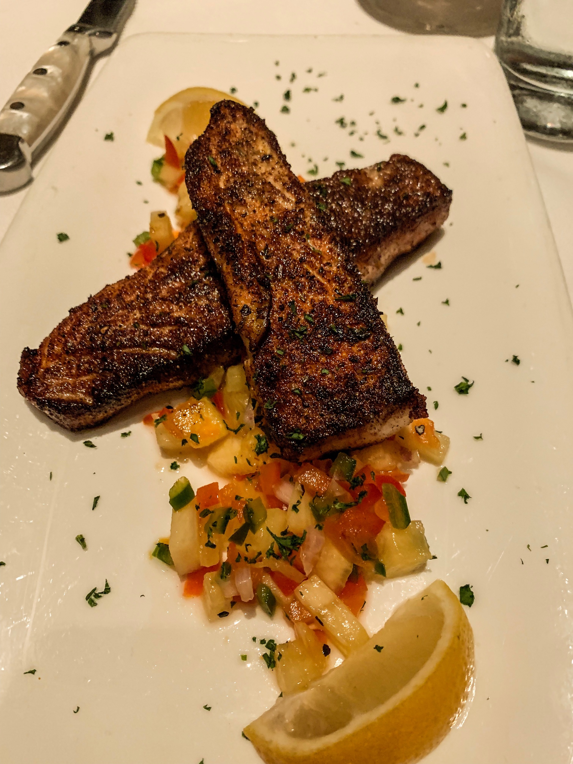 This is blackened Red Snapper, pan-seared, blackening spice, with pineapple salsa. It did not even have a hint of fish taste to it and was cooked perfectly. This was my entree and Kyle kept stealing bites.