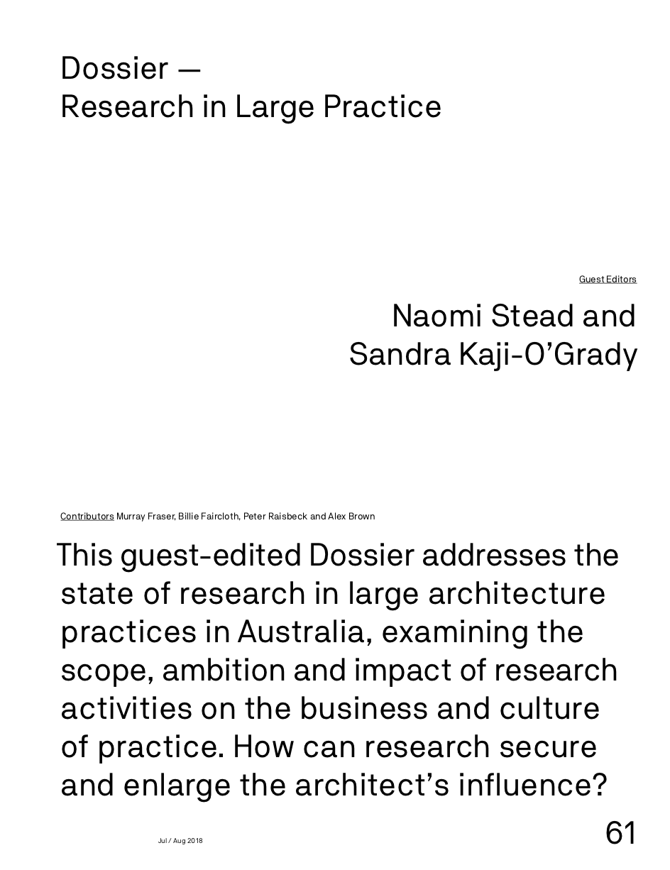 Dossier - Research in Large Practice