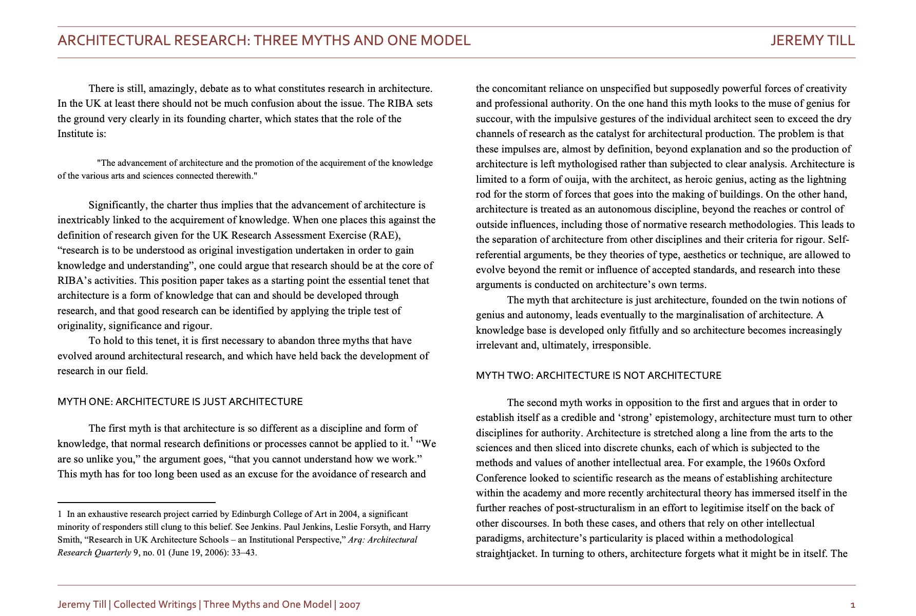 Three Myths and One Model, 2007