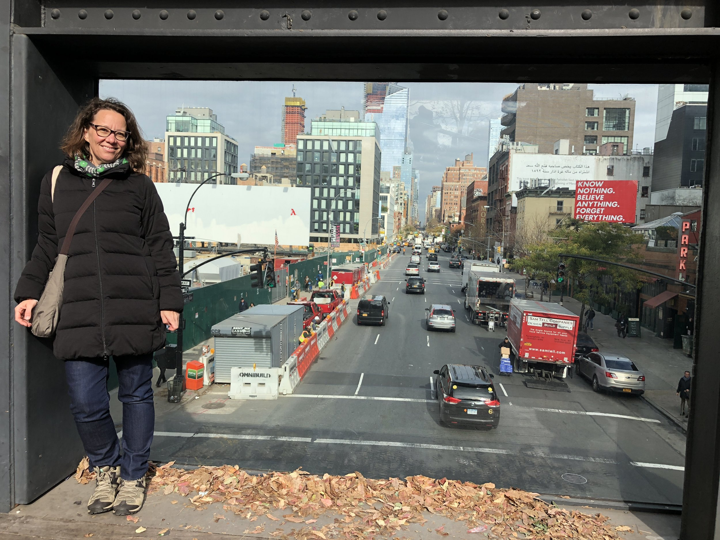 Rachael Bernstone at the 10th Street overpass, The High Line, New York City
