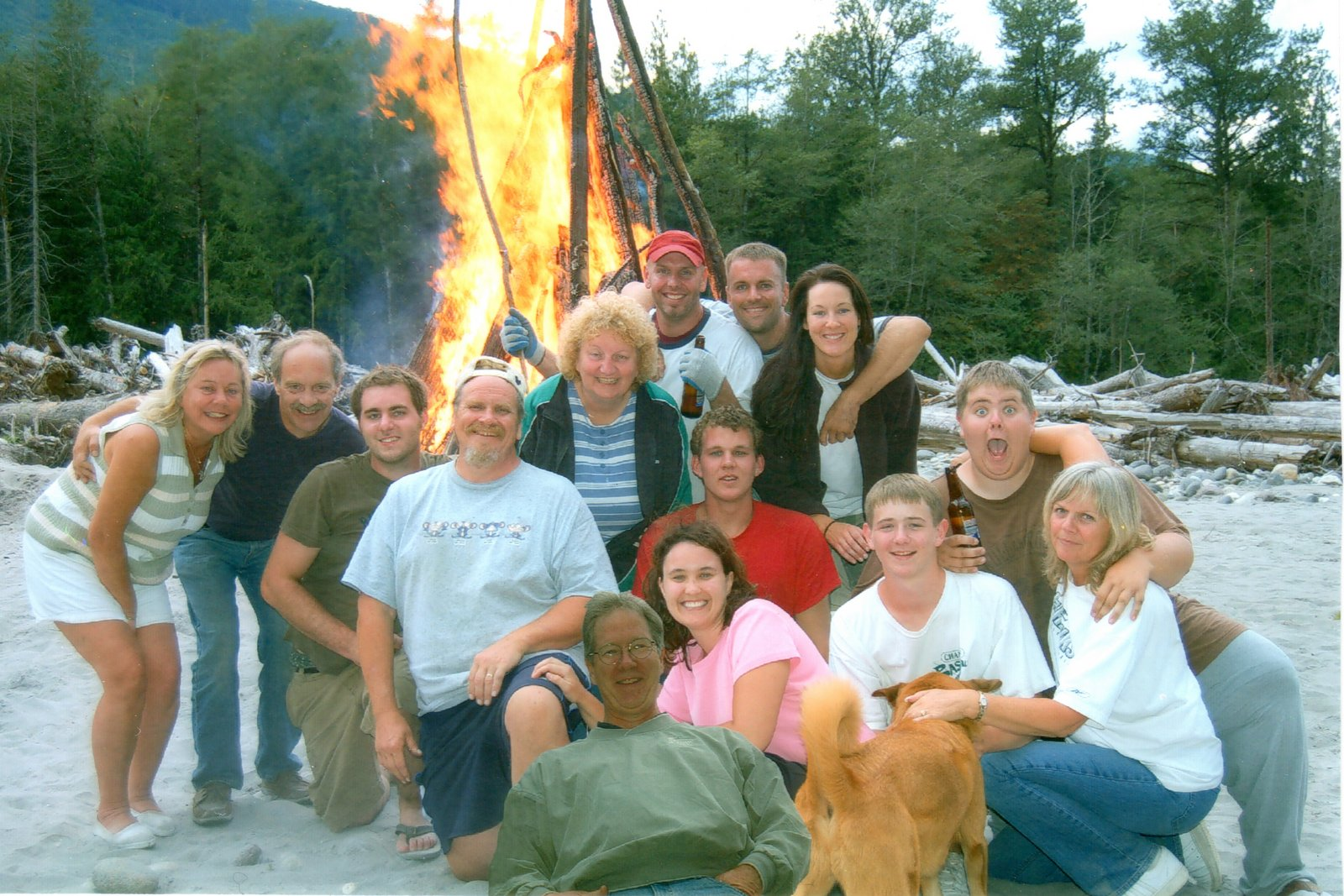 Linda at a bonfire with her friends and family