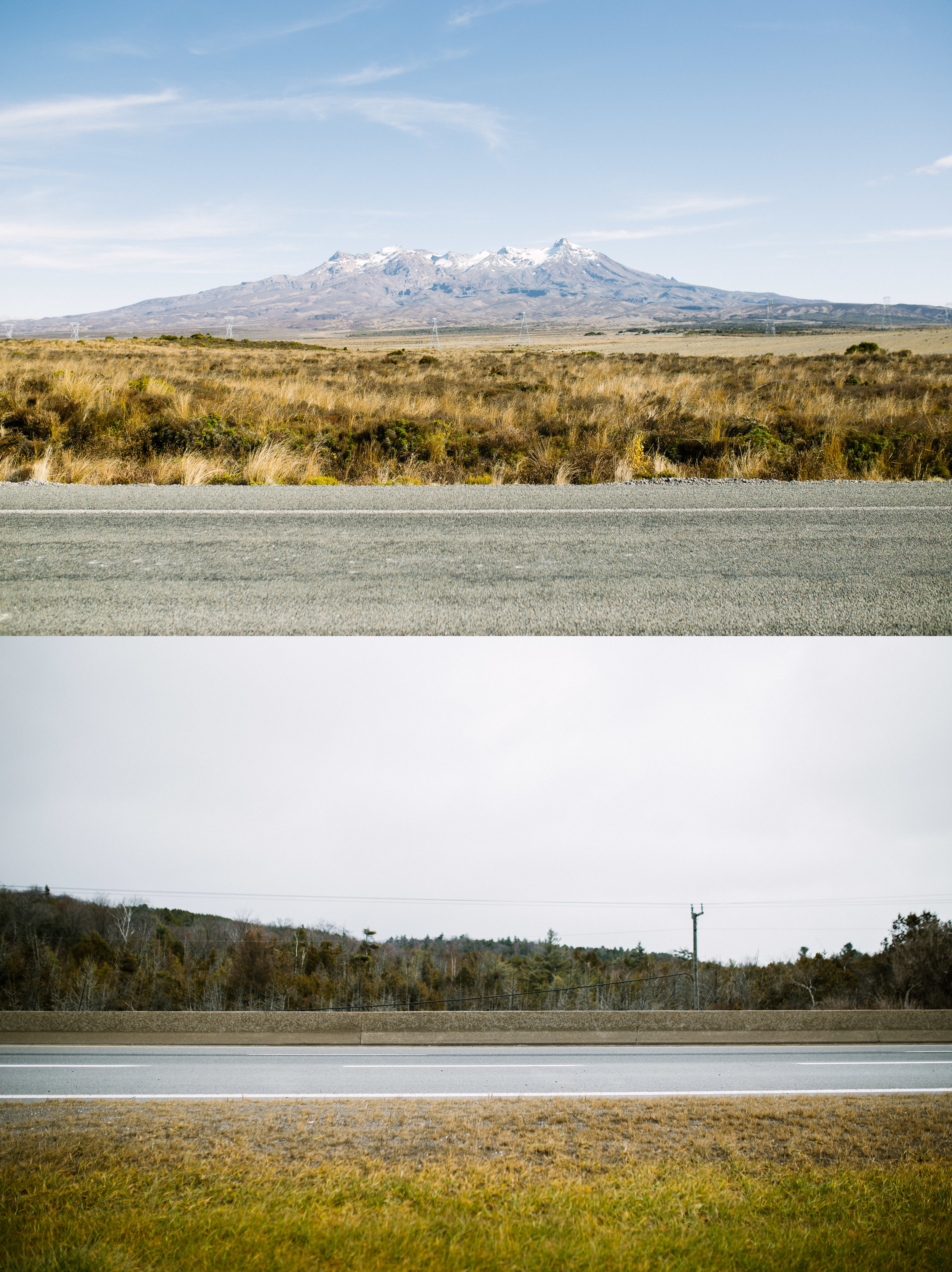 April 26 2017 / December 2 2016.  A contrasting image of the different landscapes my father is now accustomed to between New Zealand and Canada. One of the things he misses most is the landscapes of New Zealand; the mountains, hills, winding roads and oceans. At the top, Mt Ruapehu is viewed from the Rangipo Desert on the side of State Highway 1, also known as Desert Road, New Zealand. This is one of the natural landmarks my father wanted me to see while visiting New Zealand. At the bottom is a common view for myself from a gas station on the side of Highway 115, Ontario, Canada. I pass this view every time I visit my father in Peterborough, Ontario.