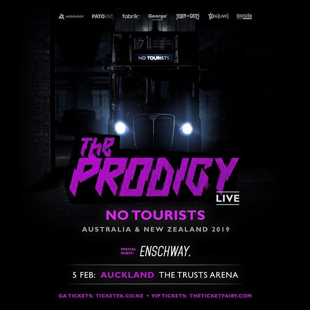 Widely regarded as the biggest and most influential dance act ever. Vital and vitriolic, on stage they are a snarling force to be reckoned with, a maniacal beast. Six #1 albums and over 30 million records sold.  There truly is nothing like it: The Prodigy LIVE | Auckland (Waitangi Eve). TICKETS    On sale 7pm Thursday November 1st 2018 🎫 General Admission from $99: www.ticketek.co.nz 🏆 VIP from $169: www.theticketfairy.com (including express entry, VIP bar, drink token & more). #fabriknz #patoentertainment #audiology #stormthegates