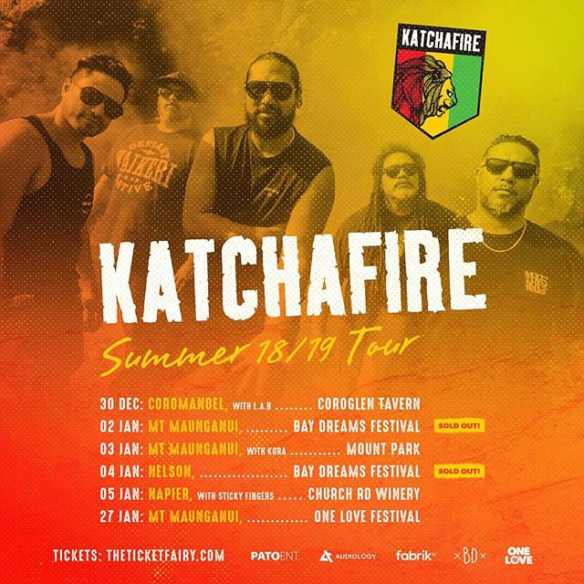 2 new Katchafire shows have just been added with special guests    Katchafire & L.A.B - Coroglen Katchafire & Kora - Mount Maunganui  Tickets are on sale next Wednesday November 7th at 7pm. 🇬🇳️🇬🇳️🇬🇳️ @audiology_touring @fabriknz @pato_entertainment