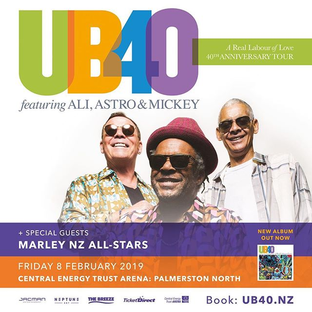 Due to overwhelming demand and near sell out shows, we are pleased to announce that UB40 featuring Ali Astro and Mickey have added another NZ date to their 40th Anniversary Tour! We will be playing at the Central Energy Trust Arena in Palmerston North on Friday 8 February. Support from the incredible Marley NZ All Stars.  BIG LOVE PALMY! ❤️🍷🎶 Subscriber Presale: 9am Tuesday 6 November General Onsale: 9am Wednesday 7 November www.ub40.nz  Subscibe now at http://www.jacman.co.nz/subscribe/  #UB40TH @neptune_entertainment_nz @jacmanentertainment
