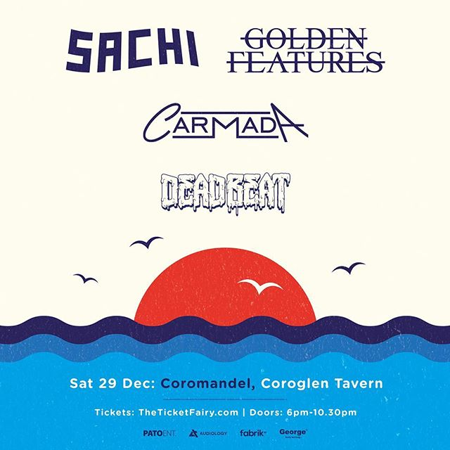 Presented by @georgefmnz  @audiology_touring  @fabriknz  @pato_entertainment  Absolutely frothing to the gills to announce our summer tour with @wearesachi - alongside one of my all time favs @goldenfeatures - the brother @dearshelton as @deadbeat and @carmadamusic 😳  Wowie that is deadset fire 🔥🔥🔥🔥