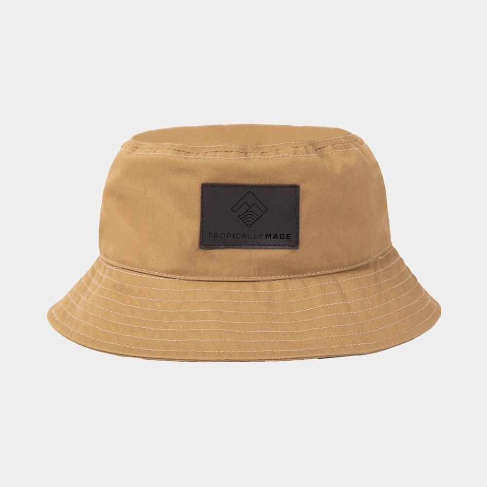 TROPICALLY MADE BUCKET HAT - Design 1   Fabric used: Twill  Custom Application: Leather Patch