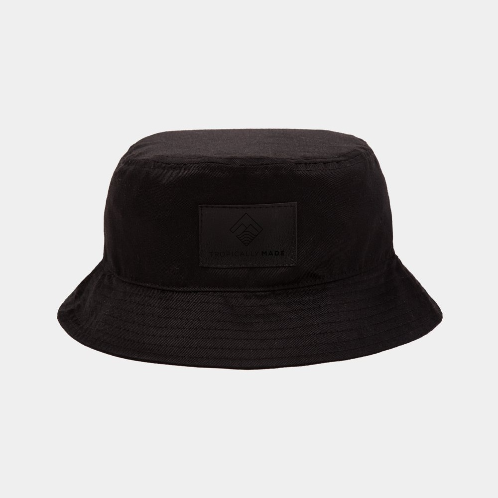 TROPICALLY MADE BUCKET HAT - Design 2   Fabric used: Twill  Custom Application: Leather Patch