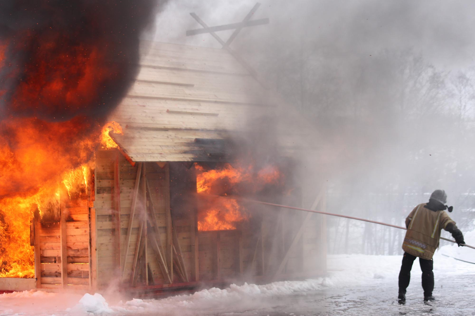 Firelance being used to put out a fire