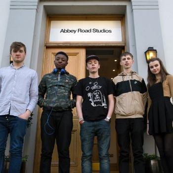 Francis, Felix, Isla, Jude and Ellis working at Abbey Road Studios