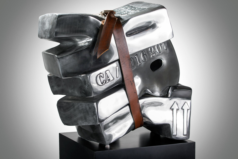 Art Sanglé  (2016) | aluminium, cuir | 51 x 50 x 30 cm | oeuvre originale | © Jean-René Broyer