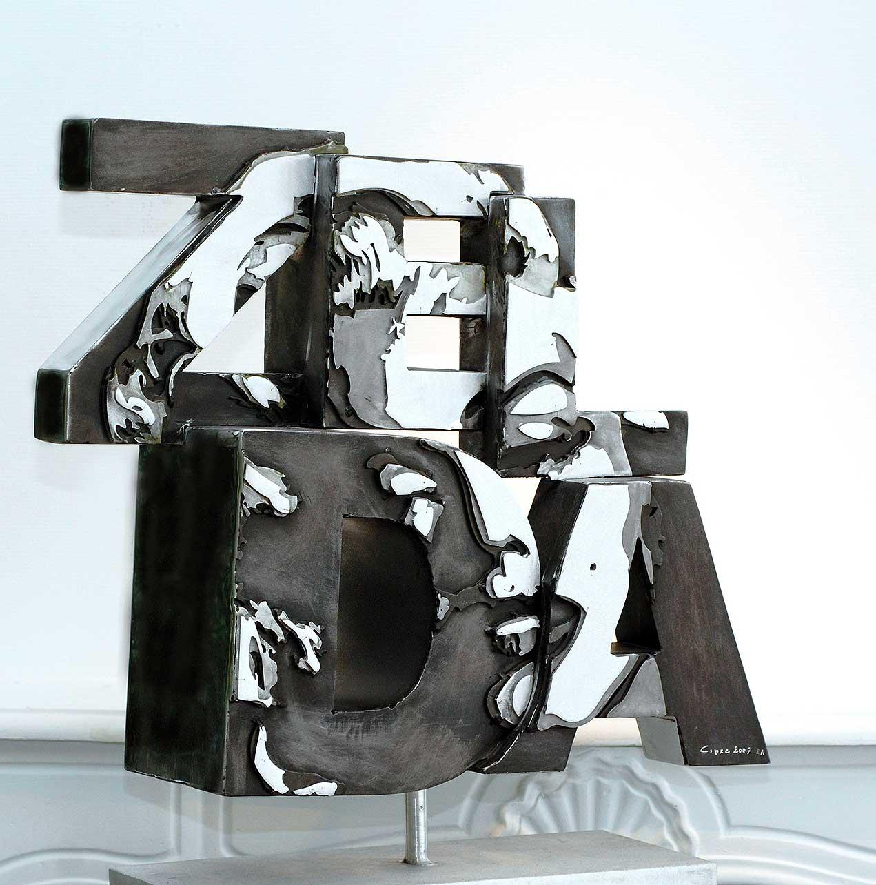 Zelda  (2008) | aluminium | 70 x 65 x 15 cm | oeuvre originale