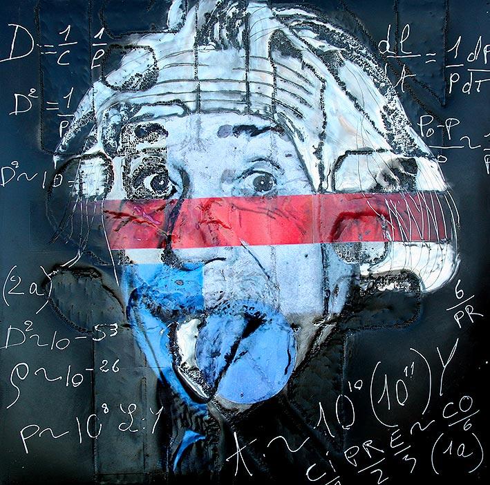 Einstein  (2010) | tableau, aluminium | 100 x 100 cm | 1/1