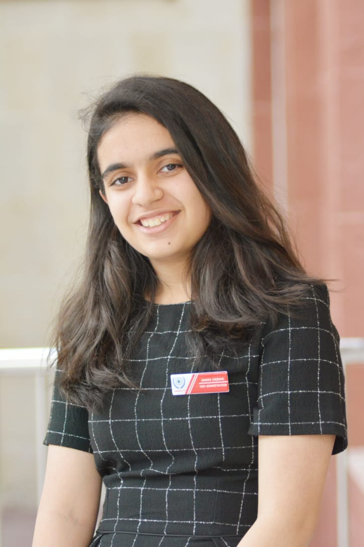 Ananya Khurana - Co-Chair - Ananya, Indian by birth has been brought up in different countries including Nigeria and the United Arab Emirates. Growing up in varied environments has exposed her to different cultures and socio-economic aspects of two very dissimilar countries. She is currently a Junior at the Indian High School and has a keen interest in maths. Ananya has always been passionate about international relations and diplomacy, and thus, has pursued MUNs for the past few years. She has accumulated a vast amount of experience in varied committees ranging from DISEC to UNHCR and IAEA. She has witnessed first hand, the passion and zeal with which delegates debate with each other. Understanding the key role that a chair plays in shaping the MUN experience, Ananya vows to make this MUN exciting and educative at the same time. She expects thriving debate in committee and will strive to make this a memorable conference for every individual.-ananya.khurana2002@gmail.com