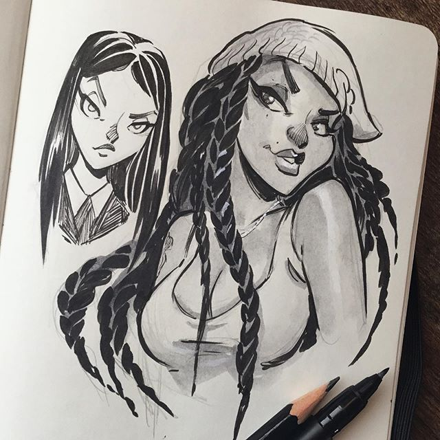 This lady has a very cool persona so I had to draw her.  #sketch #ink #sassy 🙌🏽