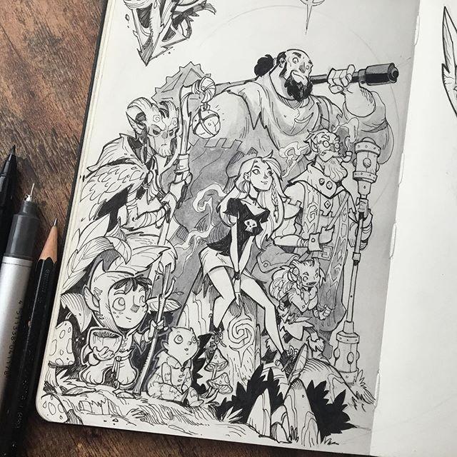 🖤Drawin' my gang.  #sketchbook #moleskine #moleskinesketchbook #moleskineart #traditionalart #ink #fantasyart