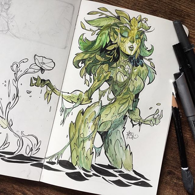 I drew this swampy Elemental a little while back and totally forgot to post her, Hope you like! :)#fantasyart #watercolour #watercolor #moleskineart #elemental