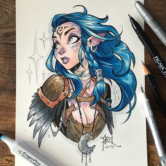 My final kickstarter commission is finished! #fantasyart #bluehairdontcare  Hope you like!  Hoping to keep the ball rolling and post more art in the future. Need to get my sorry ass in a good routine again.  Wish me luck!