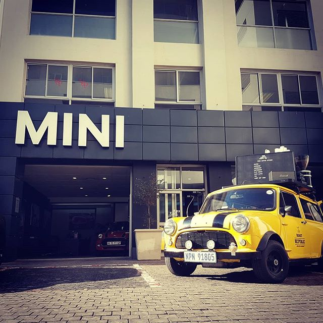 Look it's a #mini at #mini.  For the first time since we started serving #coffee from this beauty she is finally home with her besties @minisandton Thank you @bmwsandton for calling us home  #instavibes #coffeeofinstagram #mobilecoffee #mobilecoffeebar #monthend #sandton @mini_southafrica @bmwsouthafrica