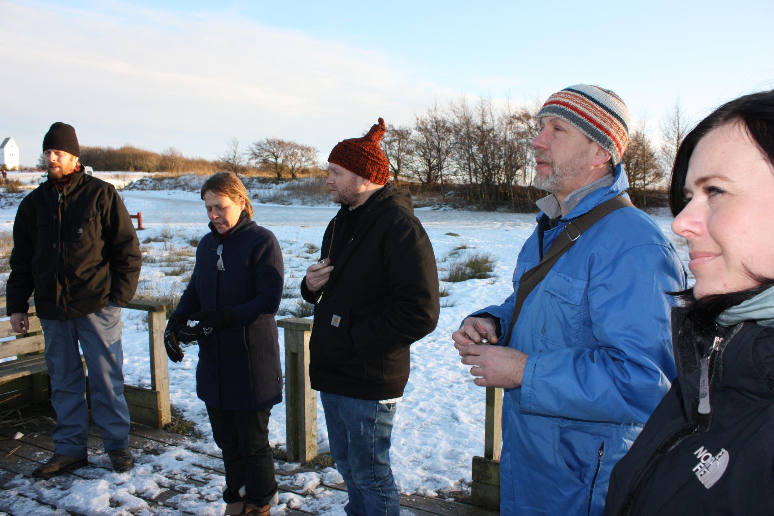 Bjørn Kromann Andersen i blå Harborørhabit, ved siden af Søren Taaning Marianne Jørgensen og Rene Schmidt