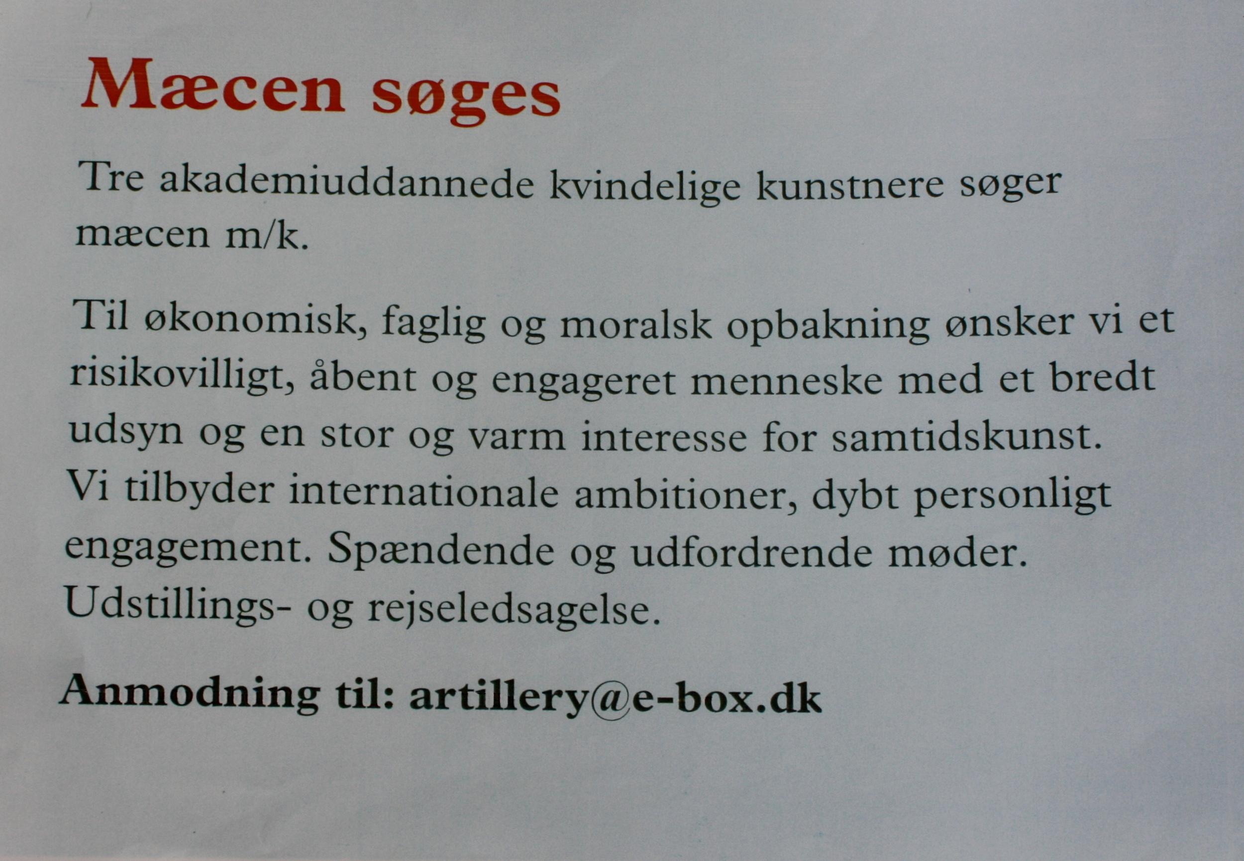 Mæcen søges: artillery postkort 1999 - der blev også annonceret under rubrikken 'erhvervskontakt i div aviser og dagblade