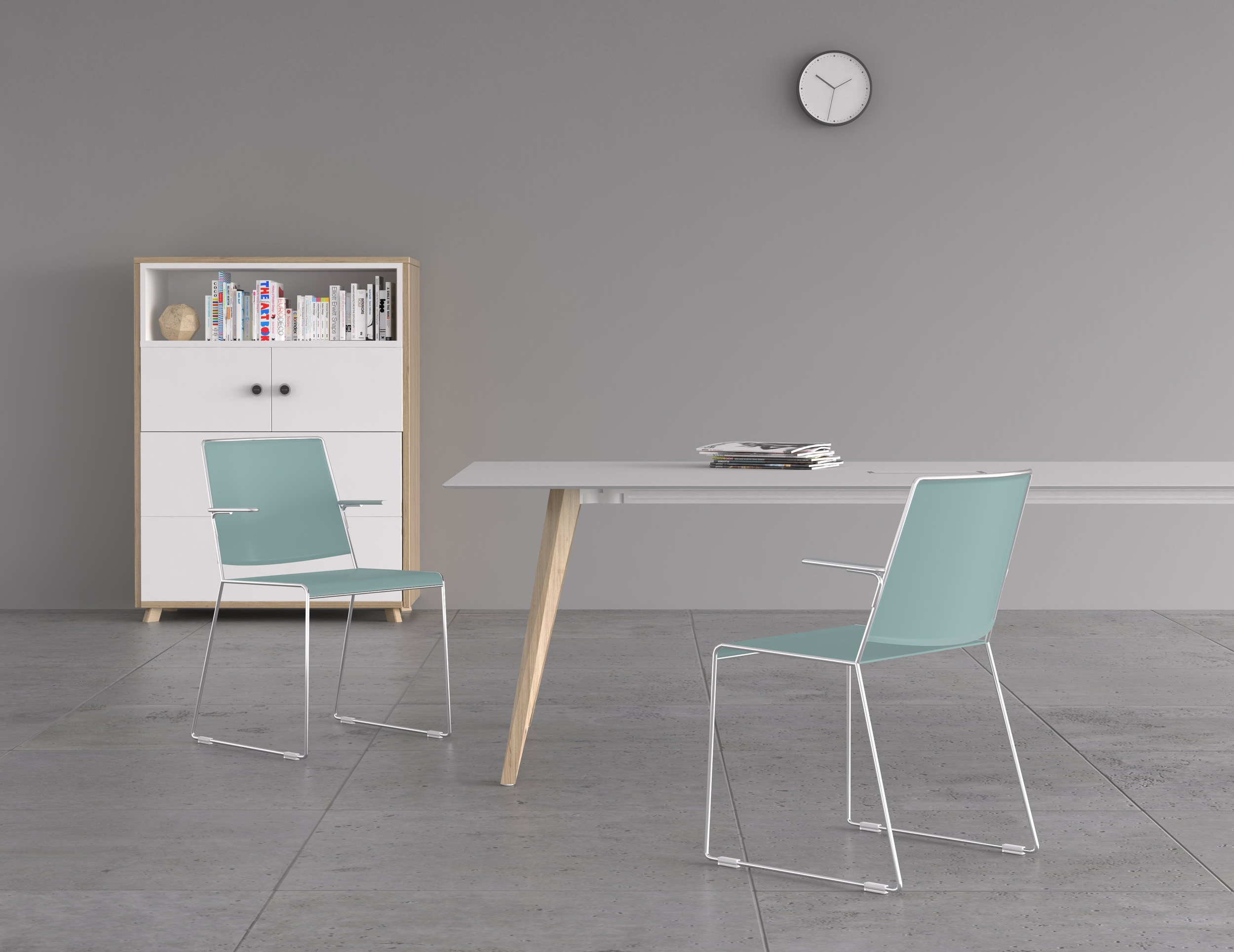 Fin chair, Bevel table, Versatile storage