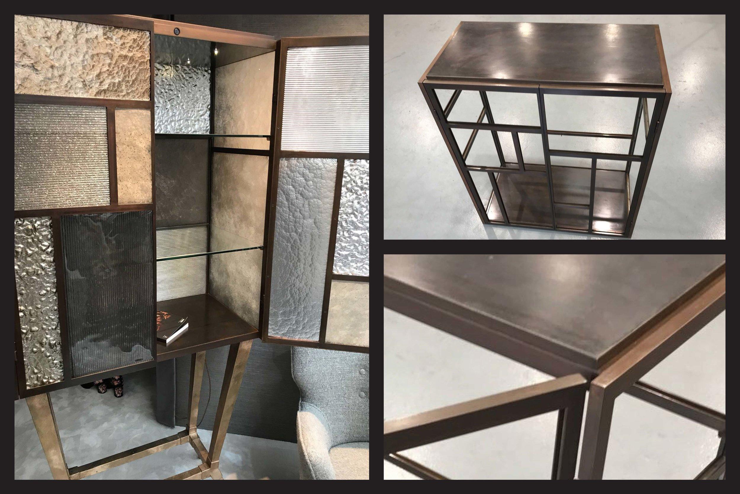 Brown Patinated Mild Steel Drinks Cabinet Frame