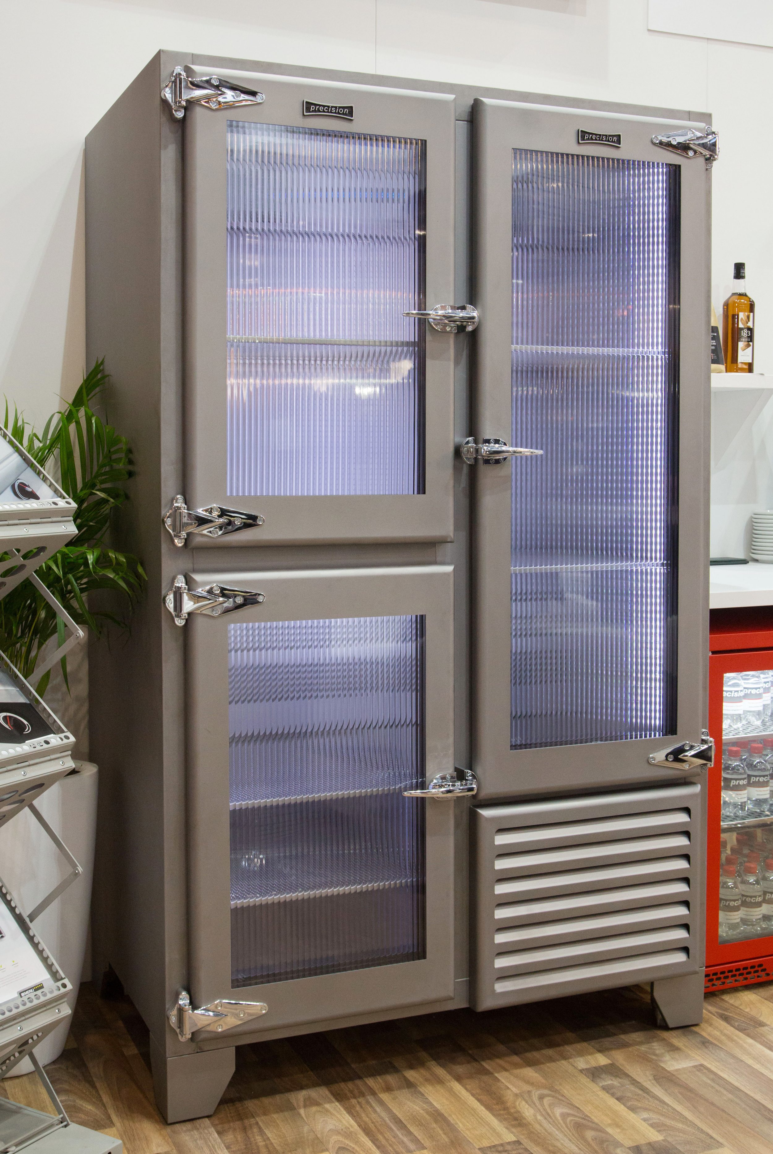 Retro Fridge With Ribbed Glass Doors