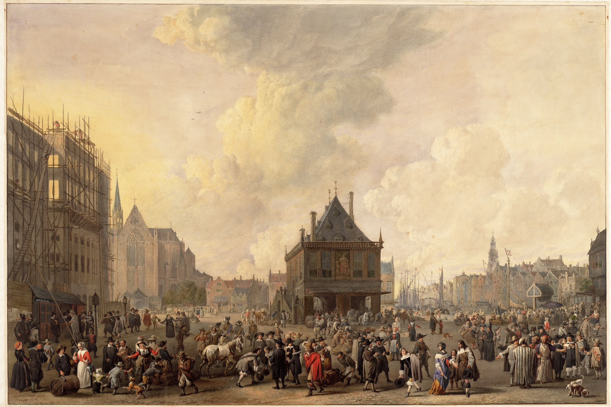 19th-century reproduction of Johannes Lingelbach,  V  iew on Dam square  (1656). On the left, the city hall under construction. (Image: Stadsarchief Amsterdam)