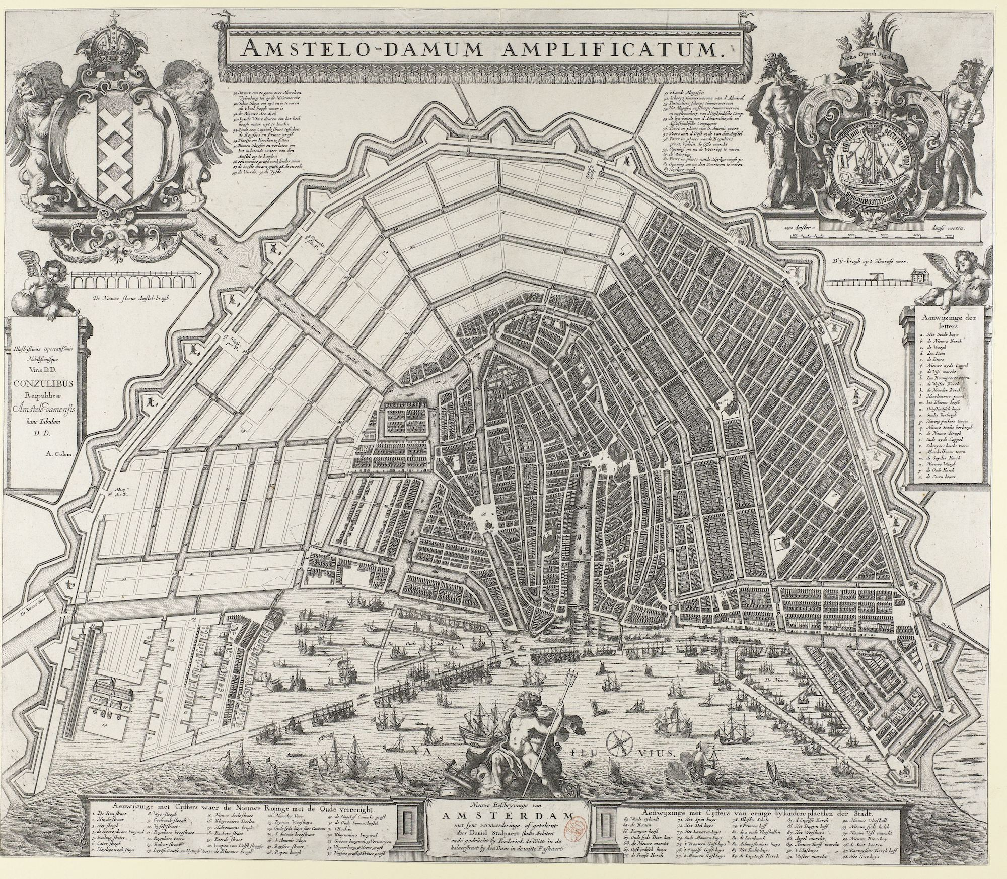 The outline of the plan for the second extension on the south and east side of the city. Map by Daniël Stalpaert ca. 1663)                         (Stadsarchief Amsterdam)
