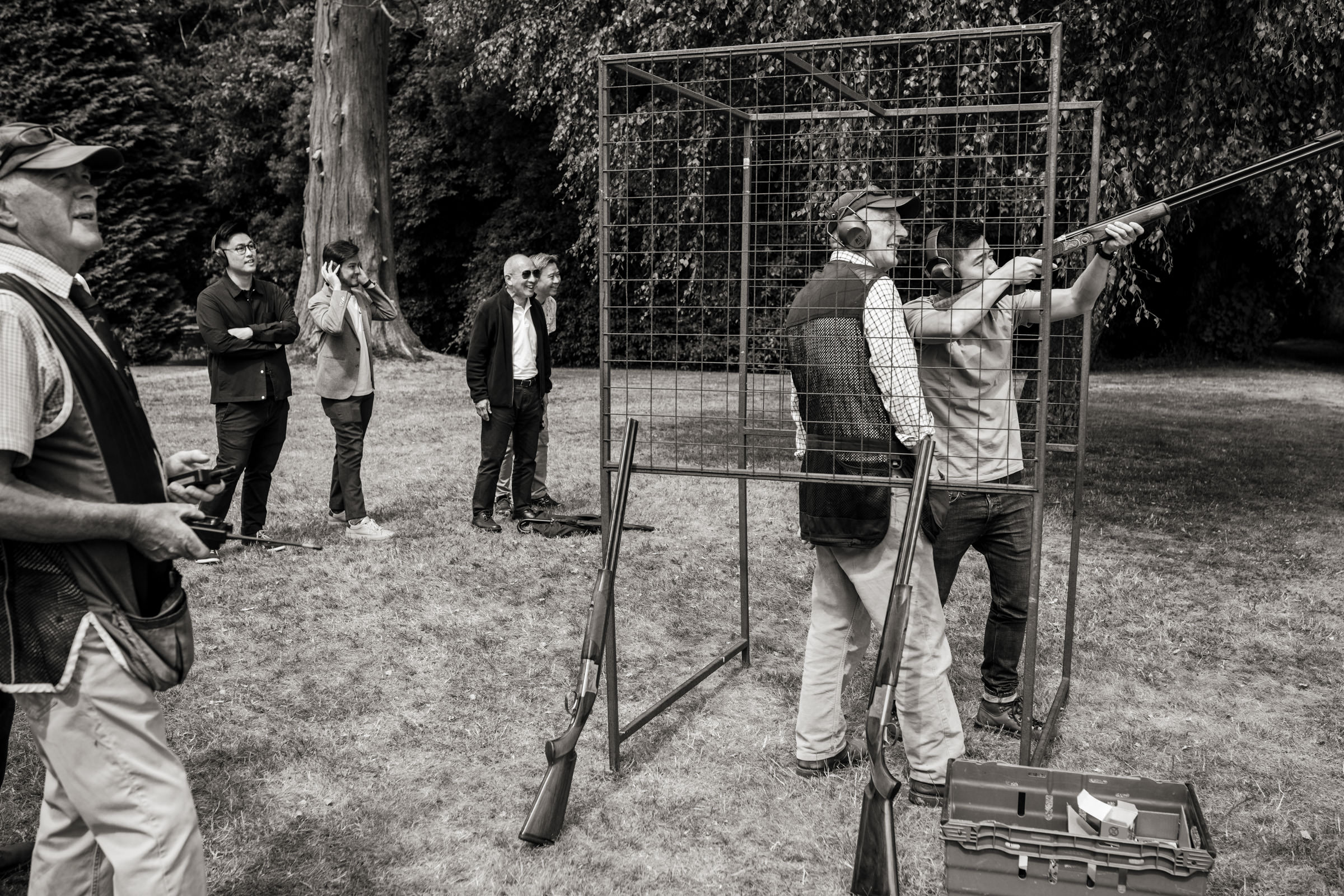 Babington House clay pigeon shooting groom party