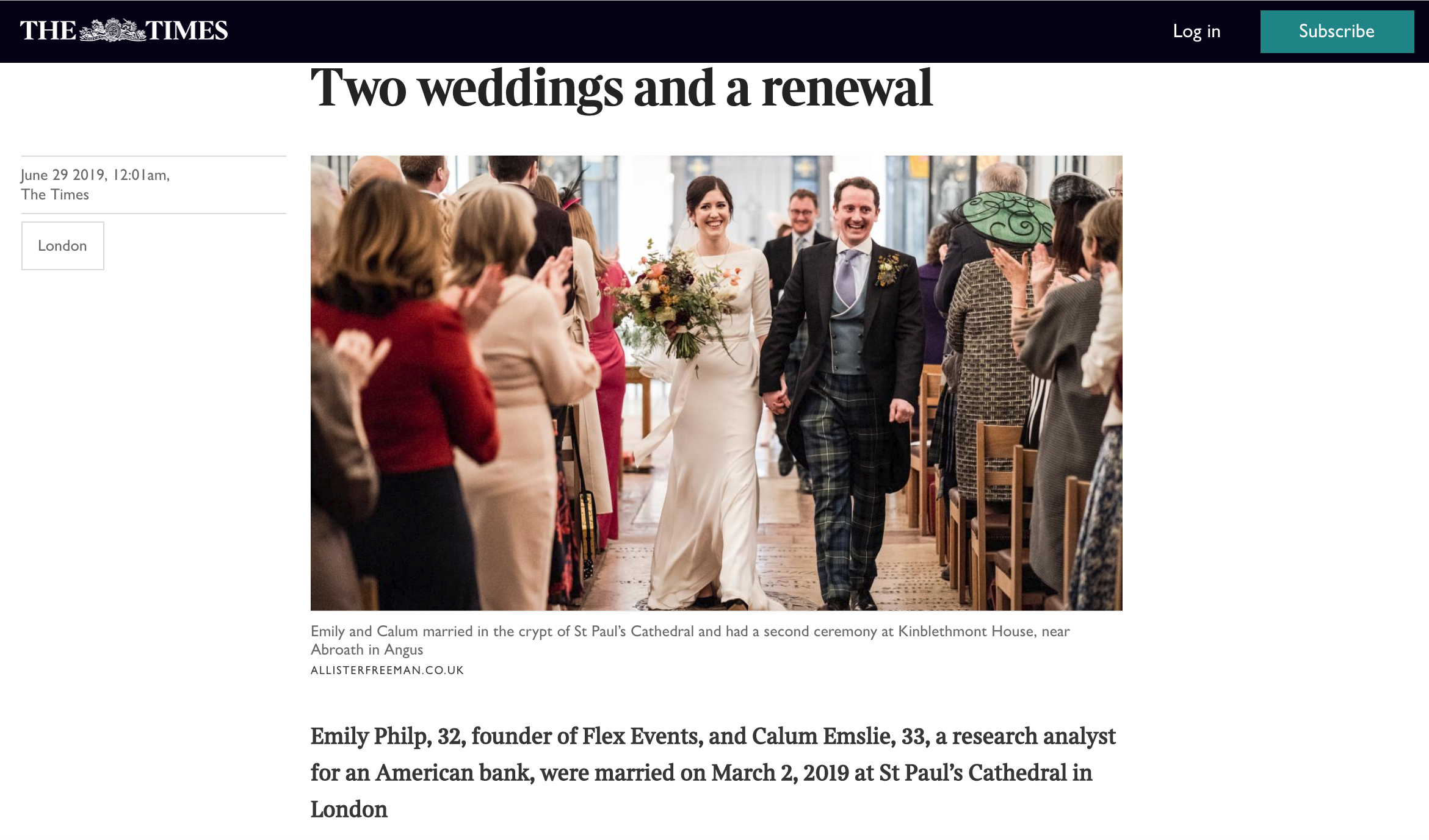 The Times wedding feature