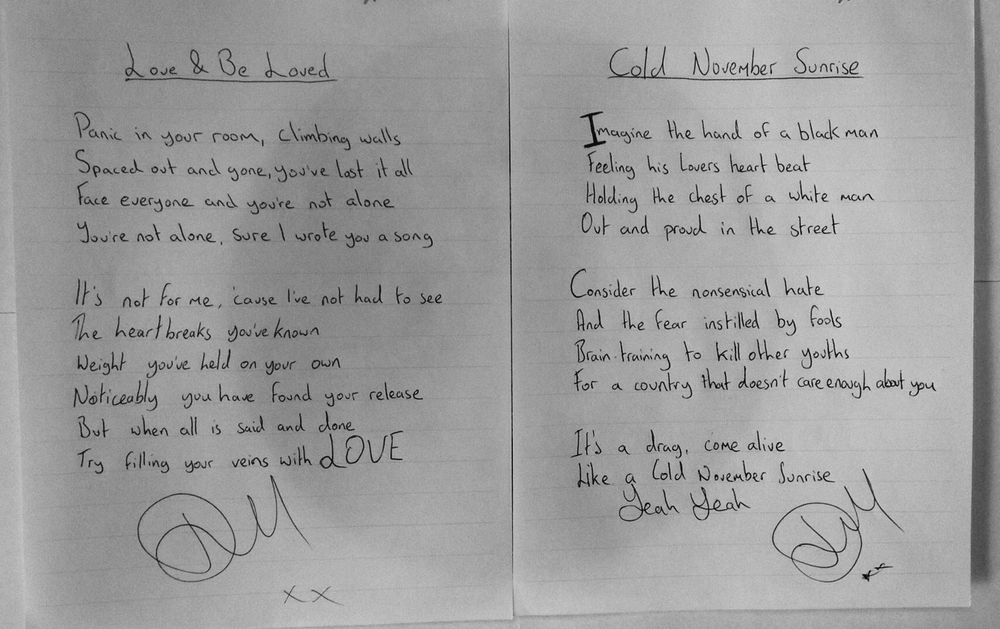 One of a kind hand-written lyrics for Love & Be Loved and Cold November Sunrise