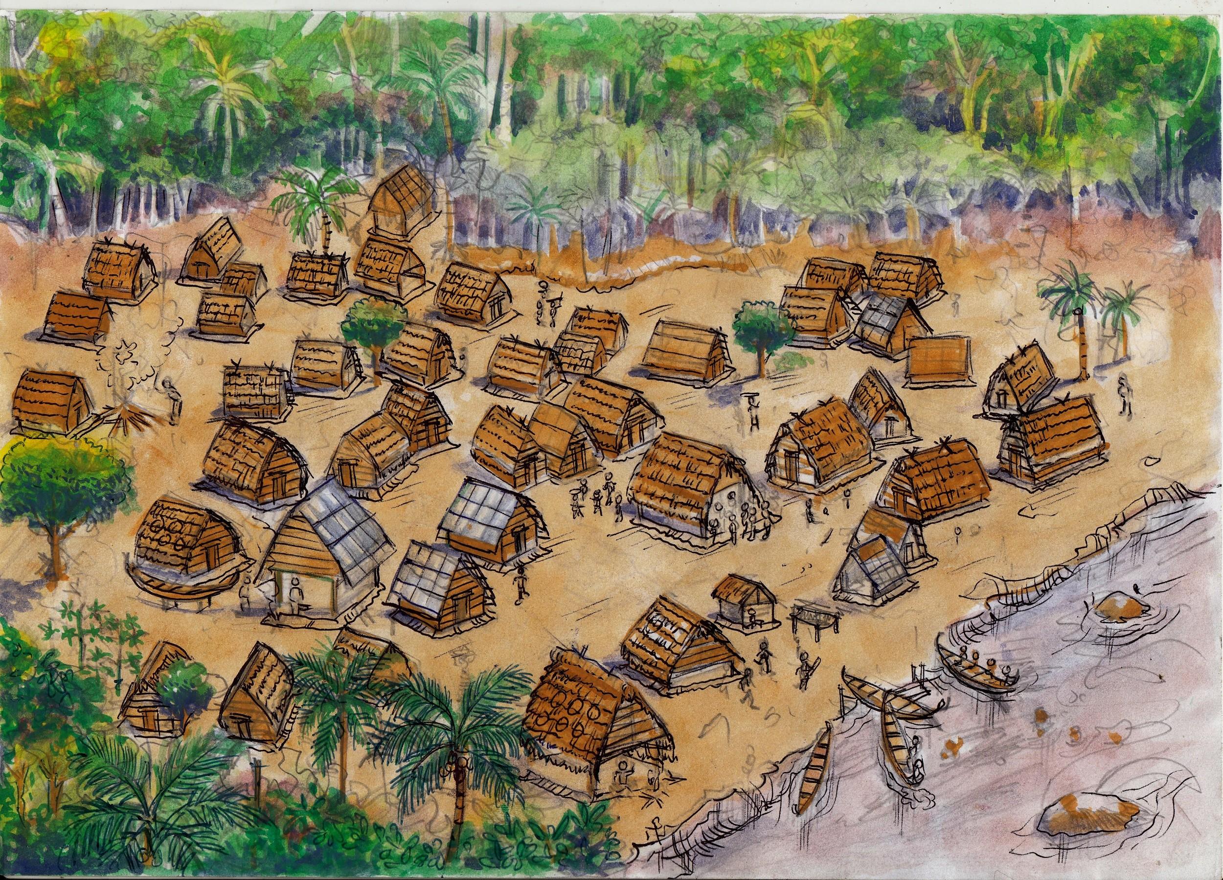Illustratie van een Marrondorp uit  Wereldverkenner 4.