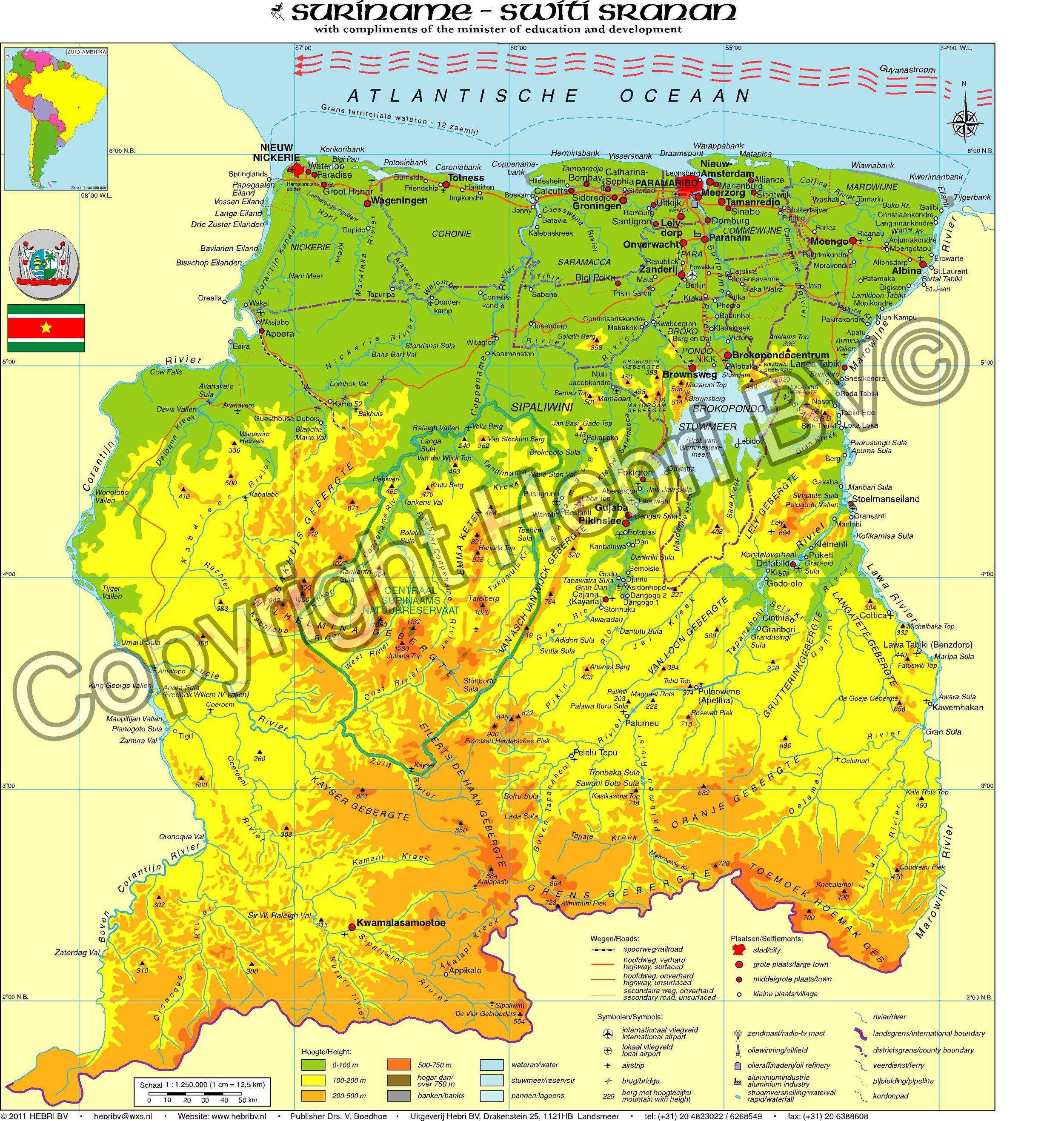 De minikaart van  Suriname