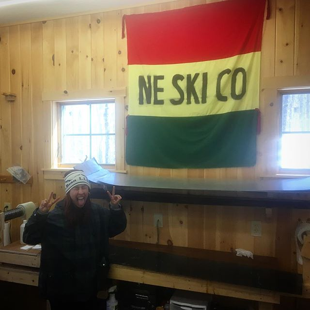 It's Reggae time...look for this flag bopping around the mountain the next few days 🇯🇲🗻⛷ .. 💙❄️NEskiCo #northeastskicompany #northeast #ski #company #mainemade #madeinmaine #maine #local #sugarloaf #workshop #skis #handmade #oneofakind #theloaf #freedom #freedomseries #new #snow #mountain #skitheeast #winter #spring #springskiing #kingofspring #reggae #reggaefest