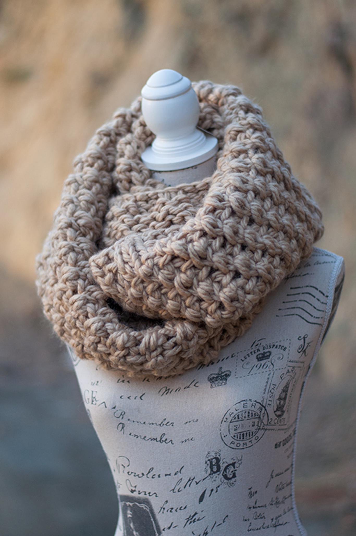 Super Chunky Knit Infinity Scarf Knitting Pattern, via Craftsy .