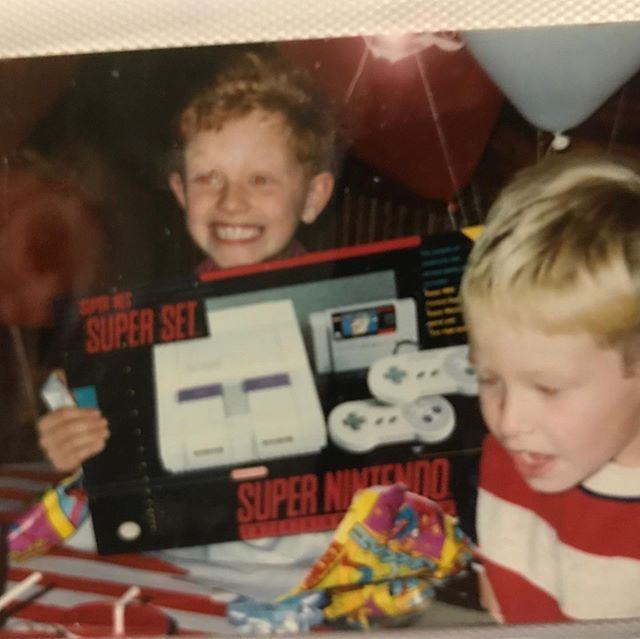 My brother sent me this picture the other day. Look at the pure joy of getting a Super Nintendo for your birthday sometime in the 1990s 😂 I had to share. #snes #nintendo