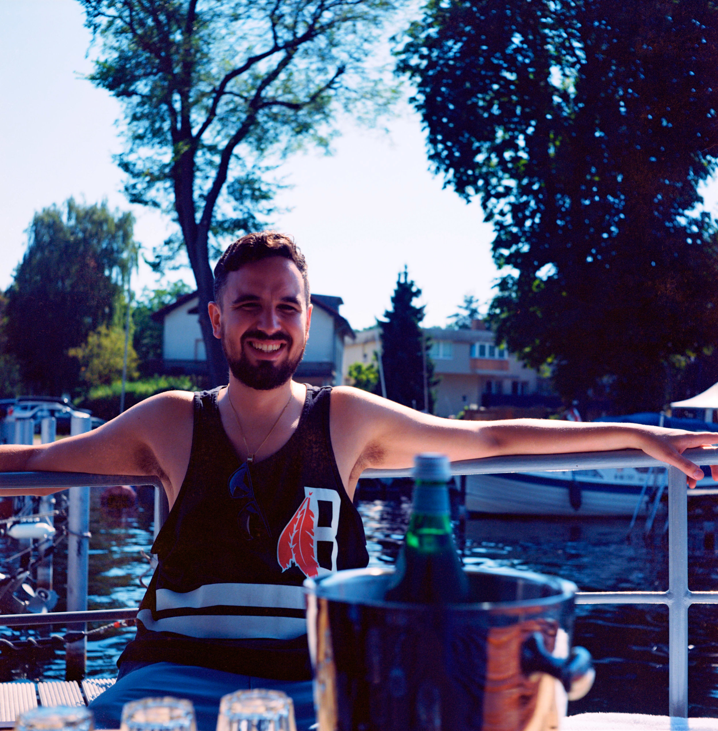 Blair enjoying boat life - Kodak Ektar 100.