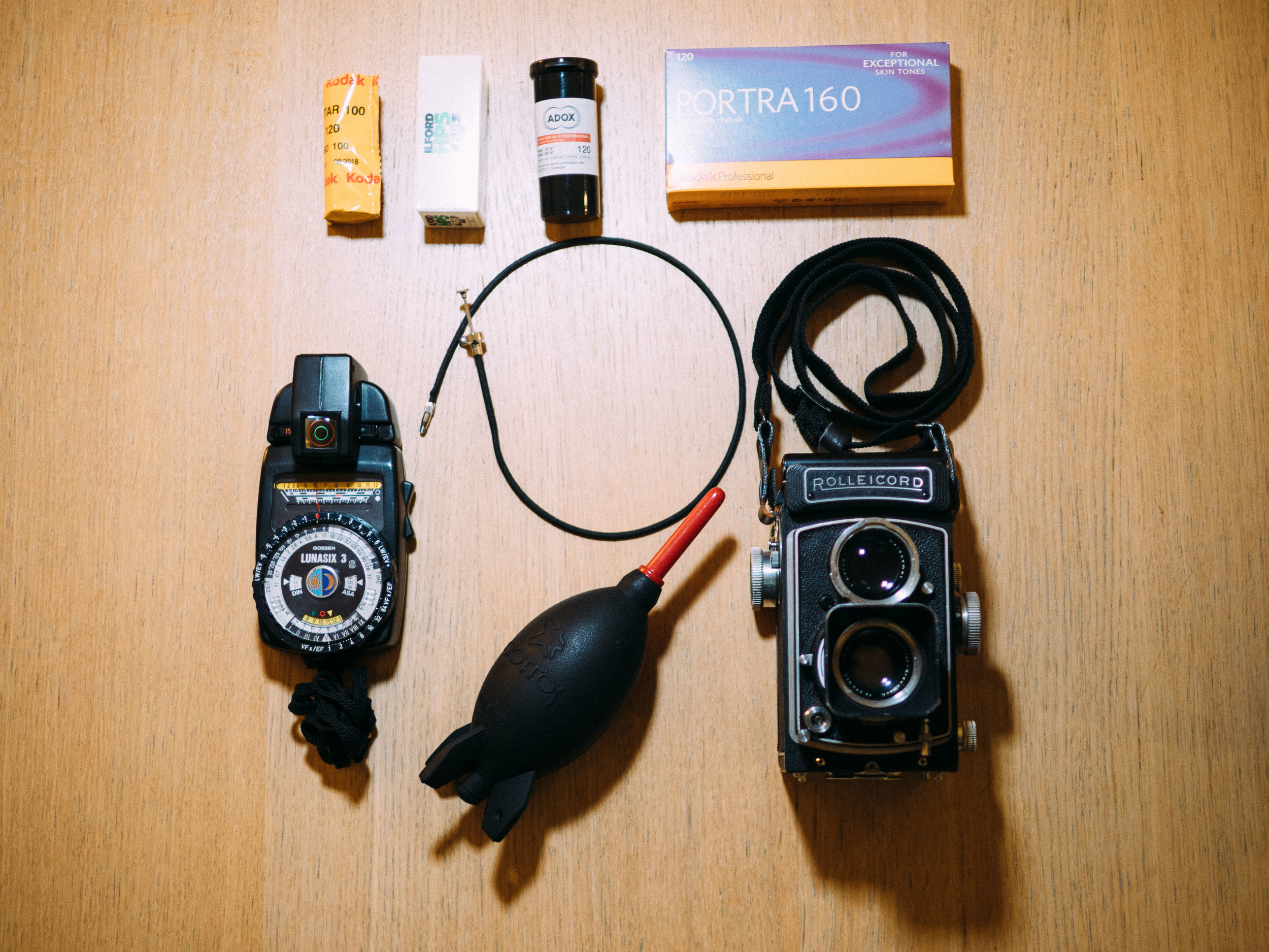 Rolleicord, 120 film and some useful accessories.