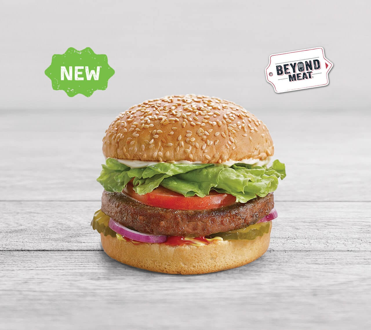 """""""The Beyond Burger™ is the world's first plant-based burger that looks, cooks, and tastes like a fresh beef burger. It has all the juicy, meat deliciousness of a traditional burger, but comes with the upsides of a plant-based meal. The Beyond Burger™ packs 20 g of plant-based protein and has no GMOs, soy or gluten."""" - - Beyond Meat"""