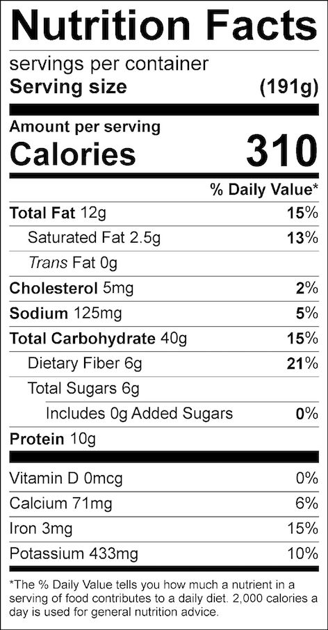 Nutrition facts are for a lunch serving (splitting recipe into 4 portions). If split into 6 portions, each serving will have 210 calories.