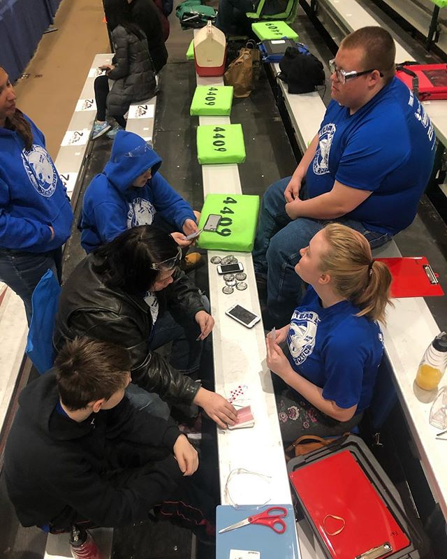 Playing cards waiting for lunch! We may be getting a little hangry lol #FIRST #omgrobots #firstinmichigan