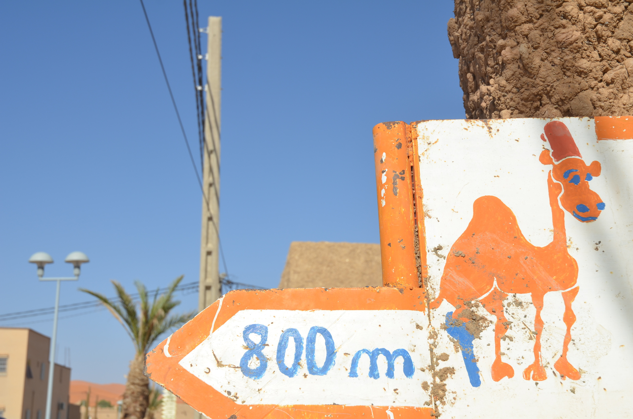 Sign for our hotel, the Camel House