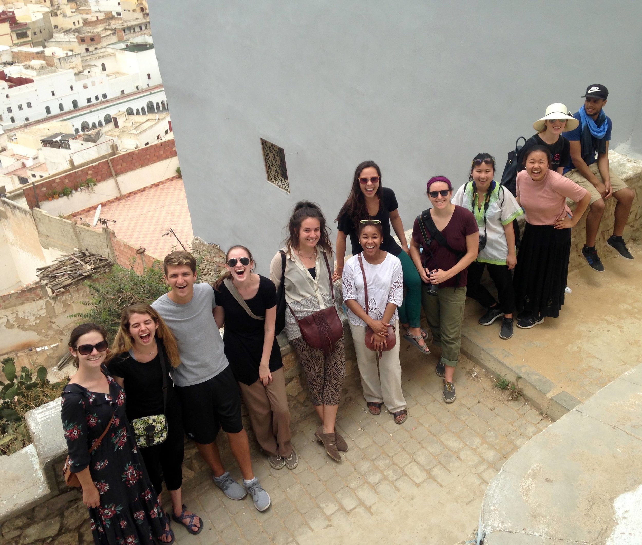 Students catch a bird's-eye view of Moulay Idriss.