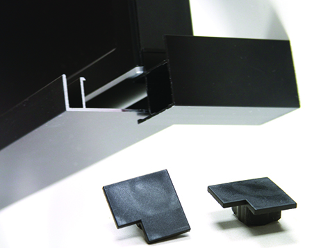 MonitorMaker kit for corner connector includes four rough cut extrusions with trim bases, black corner caps and compression blocks.