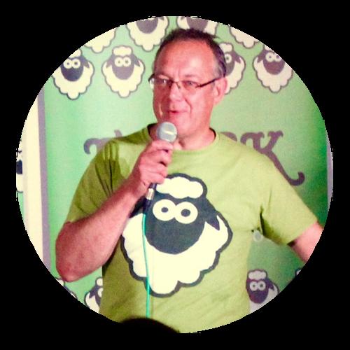 Ken MCing at Flock Comedy